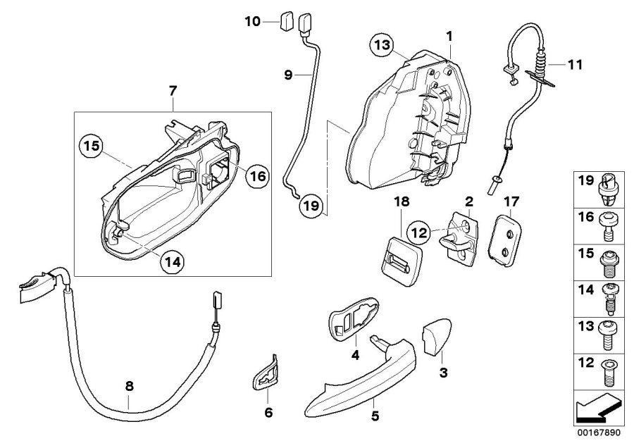 BMW X3 System latch, right. Rear, Door, Locking