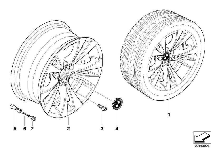 BMW 550i Light alloy rim. 8JX17 ET:20. Wheels, Wheel