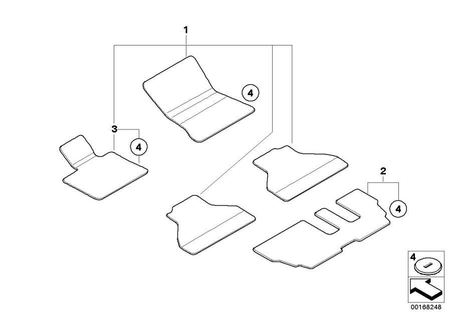 BMW X5 Floor mat, velour, 3rd seat row. BEIGE. Interior