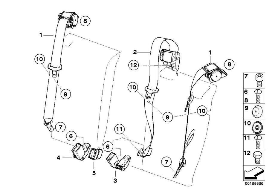 BMW X3 Lower belt rear left. Safety, Electrical, System