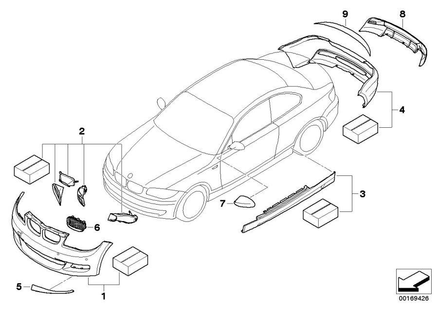 BMW 128i Exterior mirror cap, carbon, right. Aerodynamics