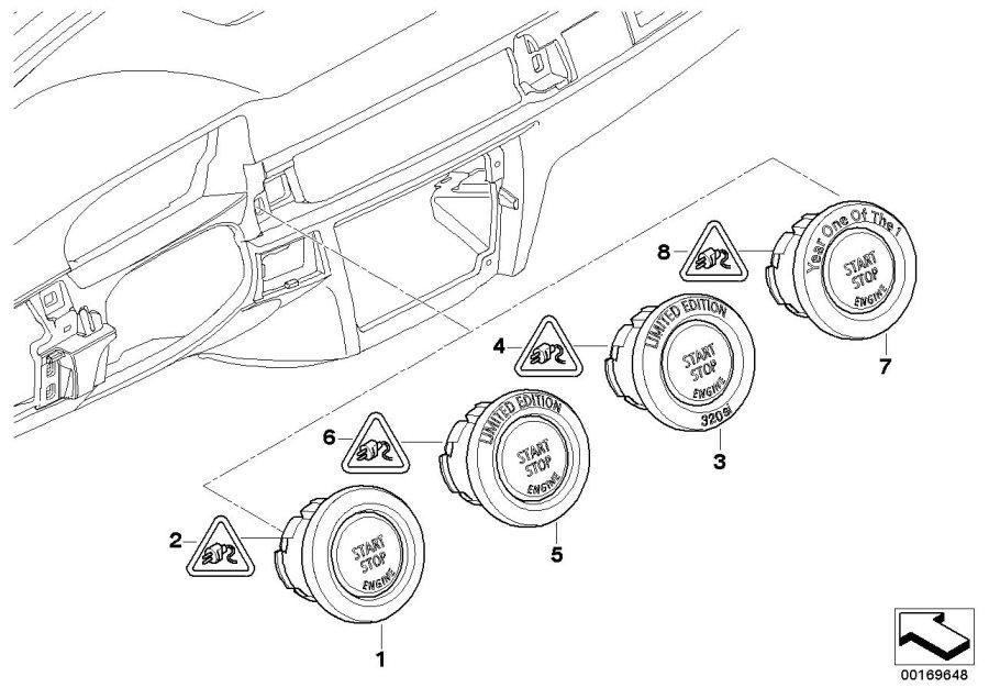 BMW 328i Starter/Stop switch. PERLGLANZ CHROM