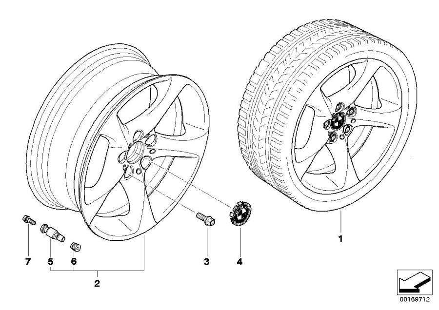 BMW 330xi Light alloy rim. 8JX19 ET:37. Wheels, Wheel