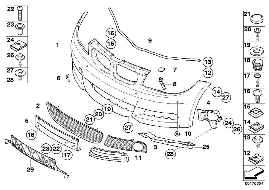 BMW 128i Flap, towing eye, primed. Trim, Front, Bumper
