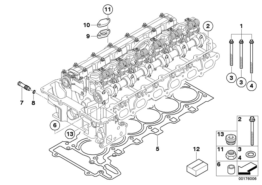 BMW 328xi Set Bolt Cylinder Head. TORX. Engine, Attached