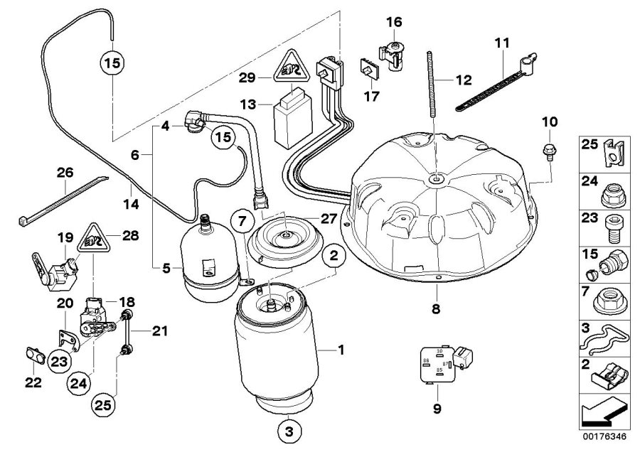 BMW X5 Rp air supply system. Device, levelling, spring