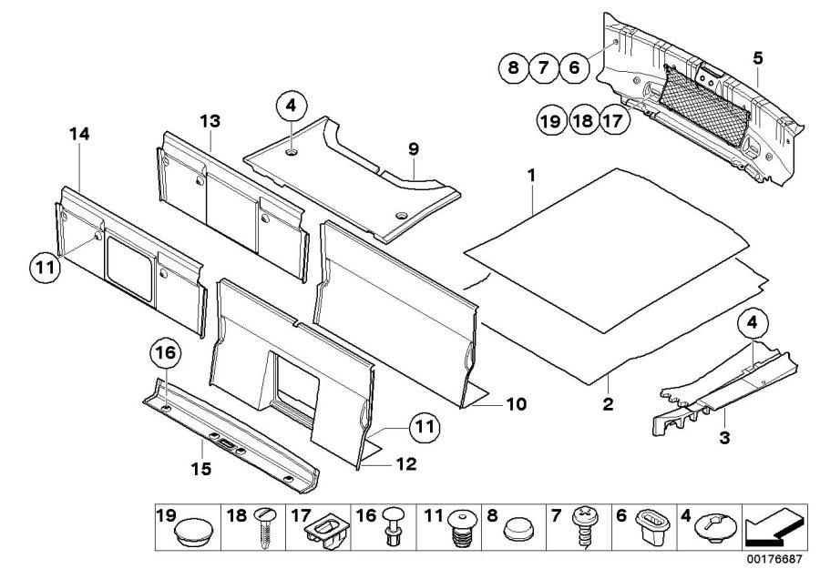 BMW M6 Trunk partition trim panel. Anthr.-melange. Luggage