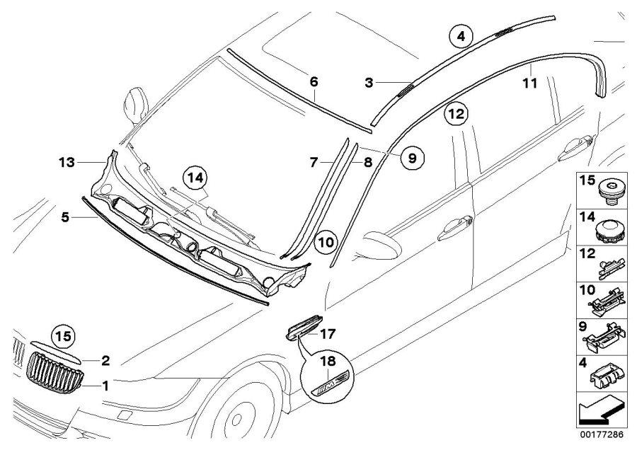 BMW M3 Primed drip moulding, left. Trim, Exterior, Body