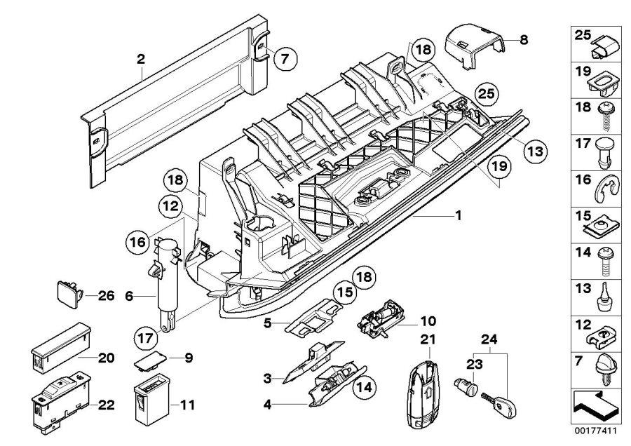 BMW 330xi Glove box. Schwarz. Trim, mounting, instrument
