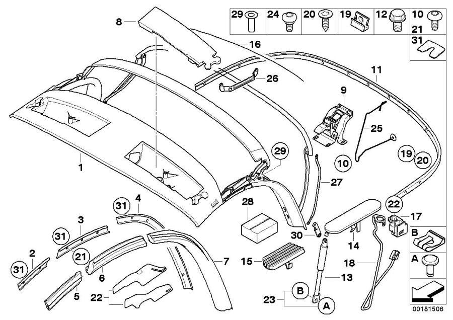 BMW Z4 Holder, corner bow, left. Folding, Top