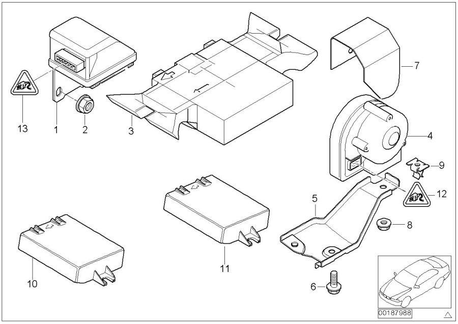 BMW 323i Ultra sonic-module. Alarm, system, electrical
