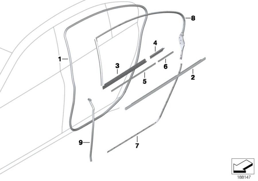 BMW 740LiX Seal, door joint, door rear lower. ALPINA, Body