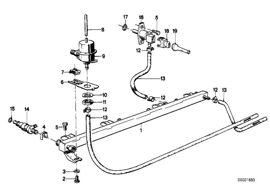 BMW 733i Pressure regulator. 2, 5bar. Fuel, system