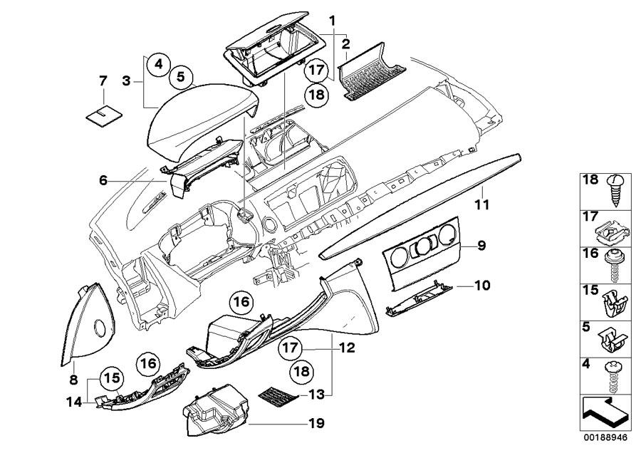 BMW 128i Trim, instrument panel, walnut. Mounting, Top