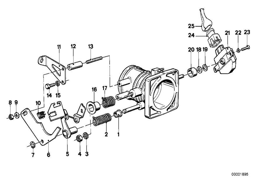 BMW 535i Throttle valve switch. Operation, carburettor
