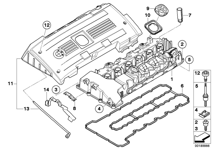BMW 335i Profile-gasket. Cylinder, head, engine, cover