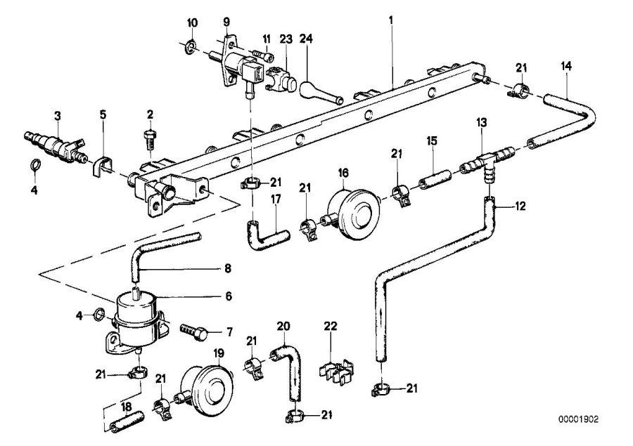 BMW 318i Fuel hose. 32MM-210MM. System, Filter, SUPPLY
