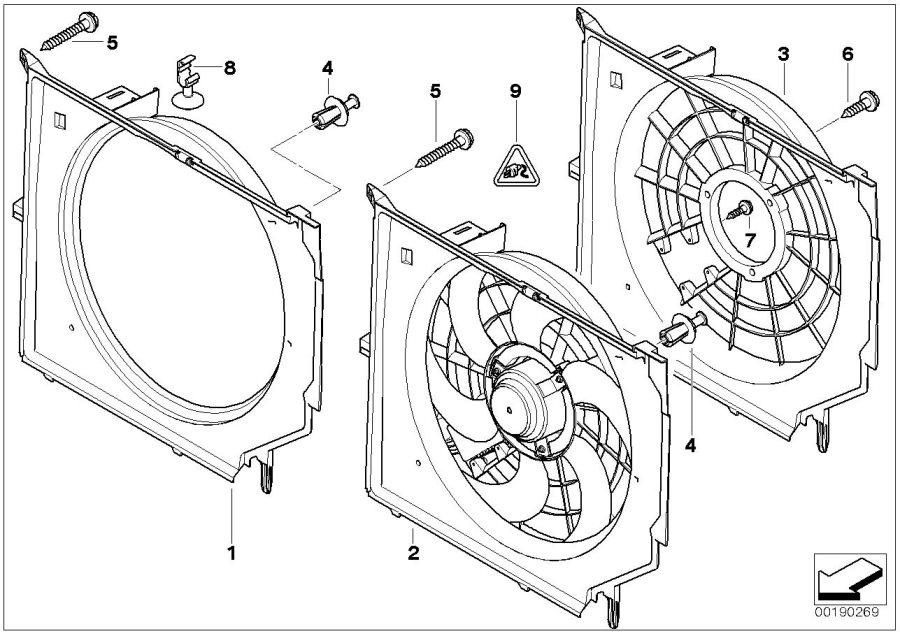 BMW 323Ci Fan housing with fan. 390W. Interior