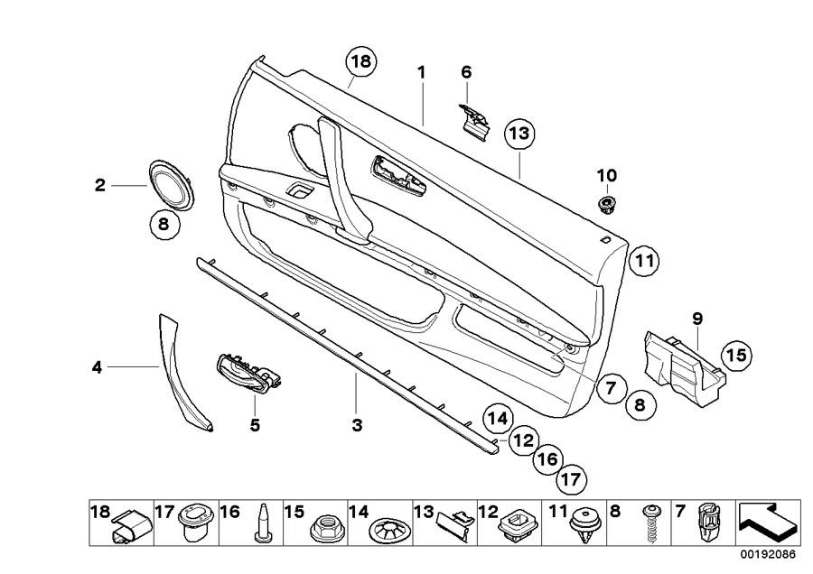 BMW 335i Expanding nut. 10X 9, 7X 2, 1. Trim, Door, Panels