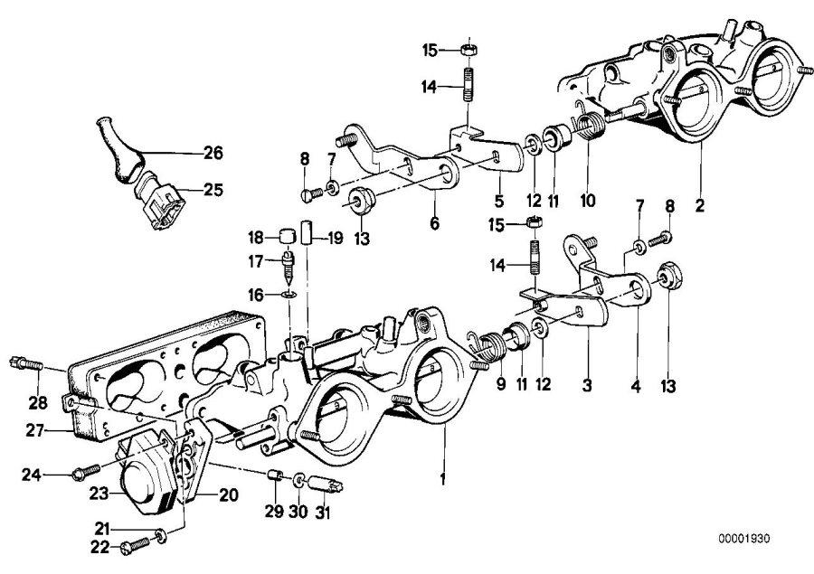 BMW M3 Throttle Housing Assy. ZYL.1-2 D=46MM. FUEL, SYSTEM