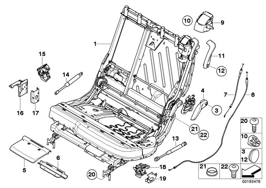 BMW X5 Bracket micro switch. Seat, rear, frame