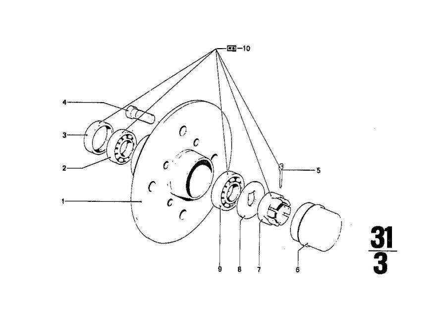 BMW 2500 Tapered roller bearing. 19x45, 23x15, 49. Bavaria