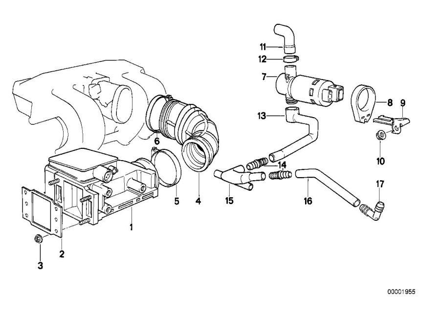 BMW 318is T-shape idle regulating valve. Fuel, system