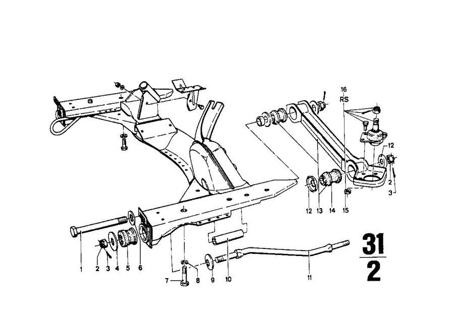 BMW 1602 Hex bolt. M16X1, 5X186. Front, Axle, Suspension
