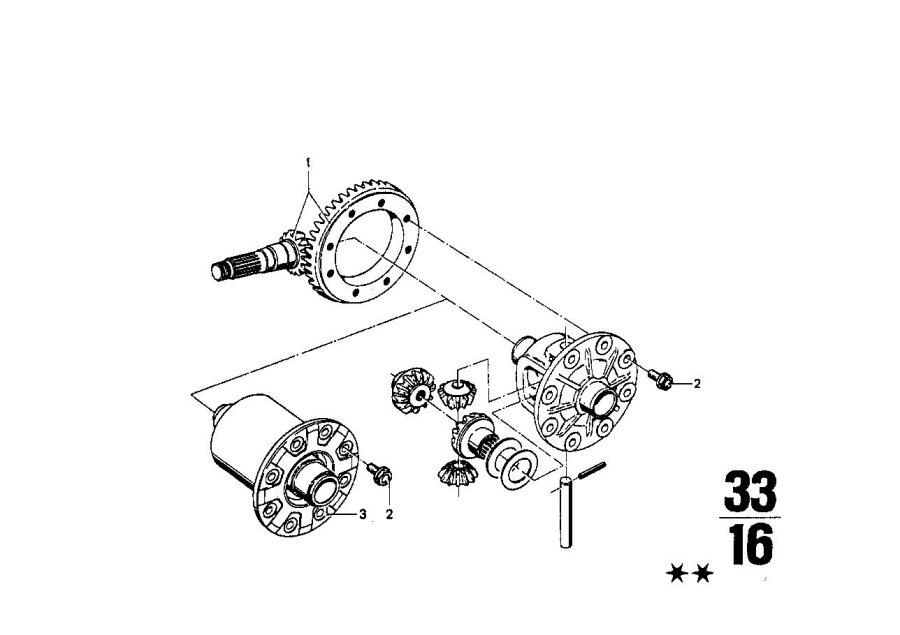 BMW 1602 Crowngear set. I=43:11=3, 91. Differential