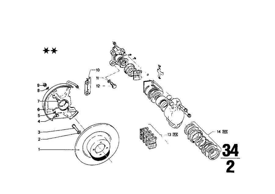 BMW 1602 Repair kit, brake pads asbestos-free. TEXTAR T476