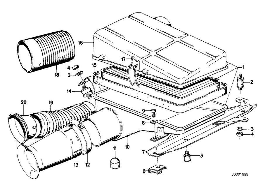 BMW 633CSi Air filter element. Intake, Fuel, Silencer