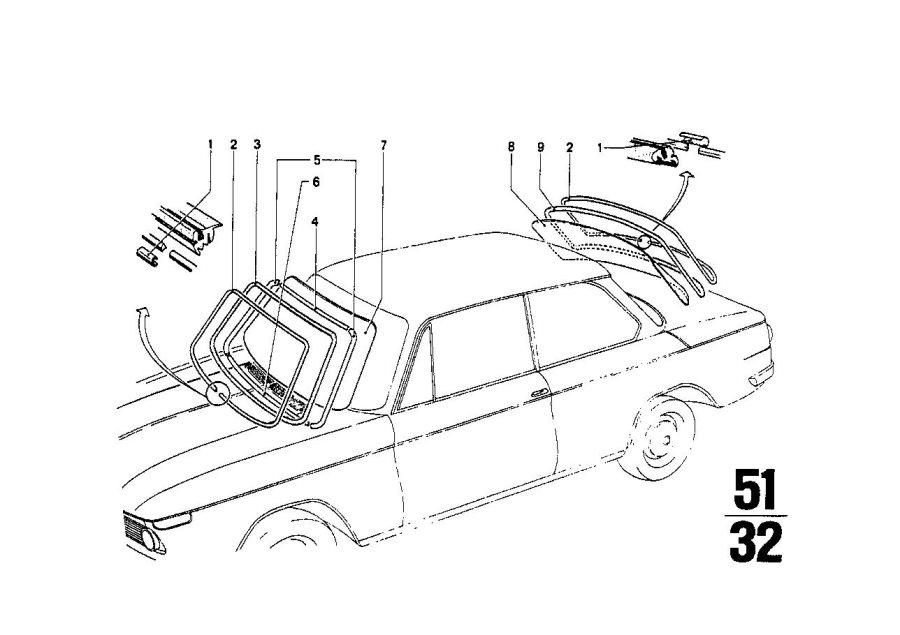 BMW 1602 Rear window clear. SEKURIT. Glazing, Trim, Body
