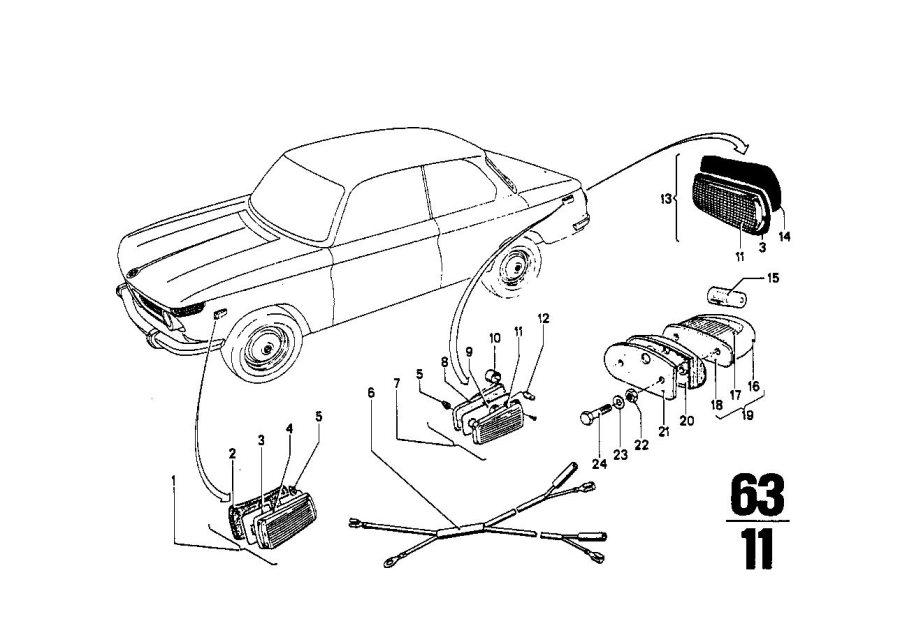BMW 2000 Side marker light. Bavaria, System, Electrical