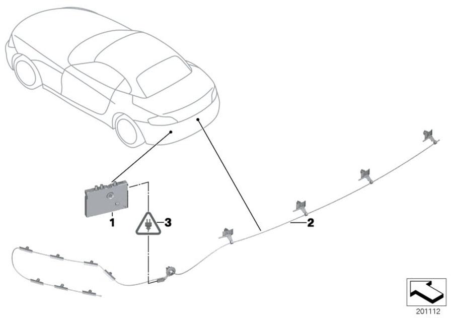 BMW Z4 Antenna, bumper-mounted, FM. Single, System