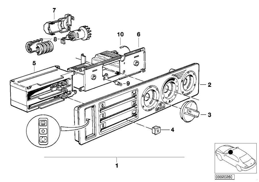 BMW 525i Bulb. 12v 1, 2w. Air, control, conditioning