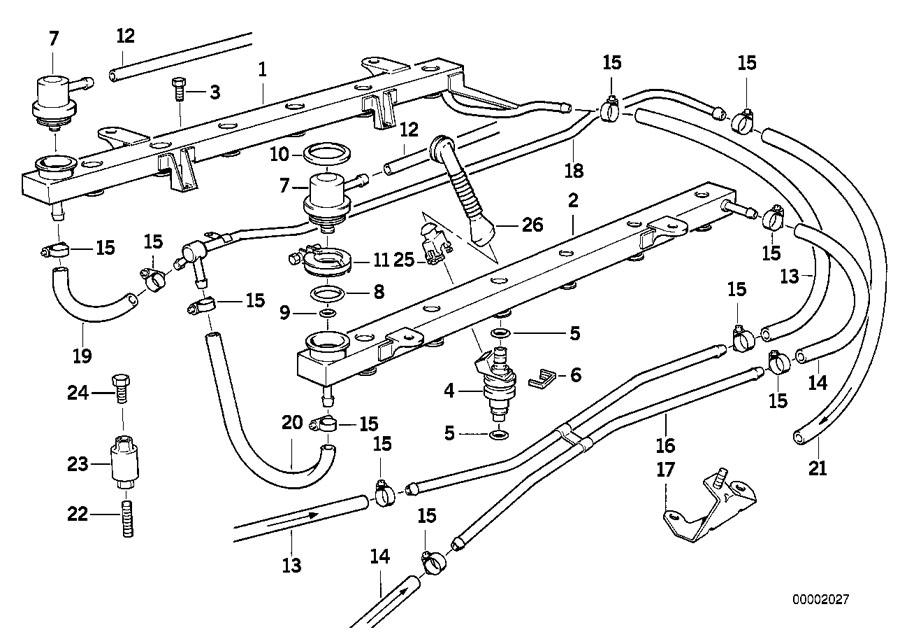 BMW 750iL Fuel feed line. ZYL.1-6. System, INJECTION