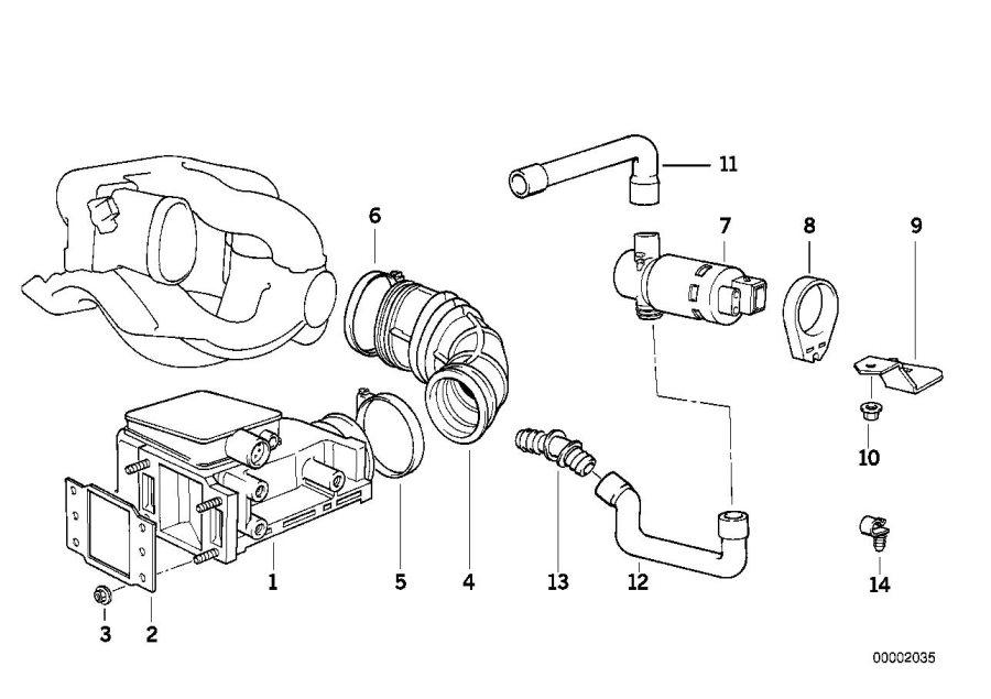 BMW 318ti Exch.vol.air flow sensor w. Adapter lead. System