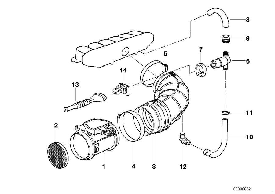 BMW 325i Exch. Volume air flow sensor. 6-POL. Fuel, System