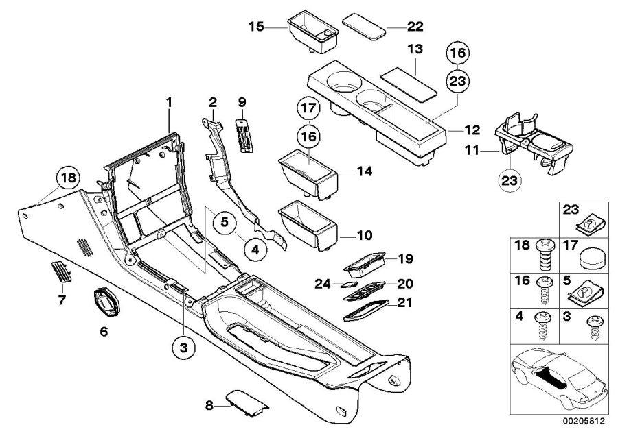 BMW Z3 Console. Q6SW SCHWARZ. Body, Armrest, Trim