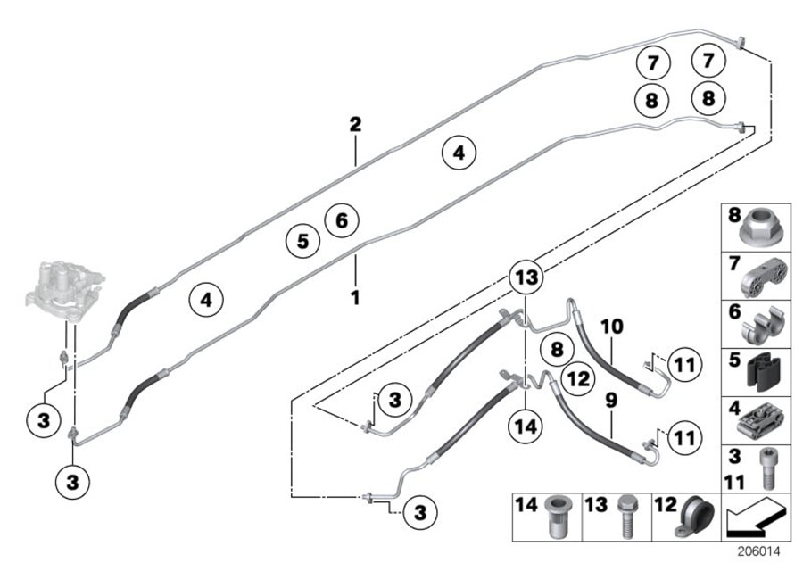 BMW 750Li Pressure hose assy. Alpina, suspension
