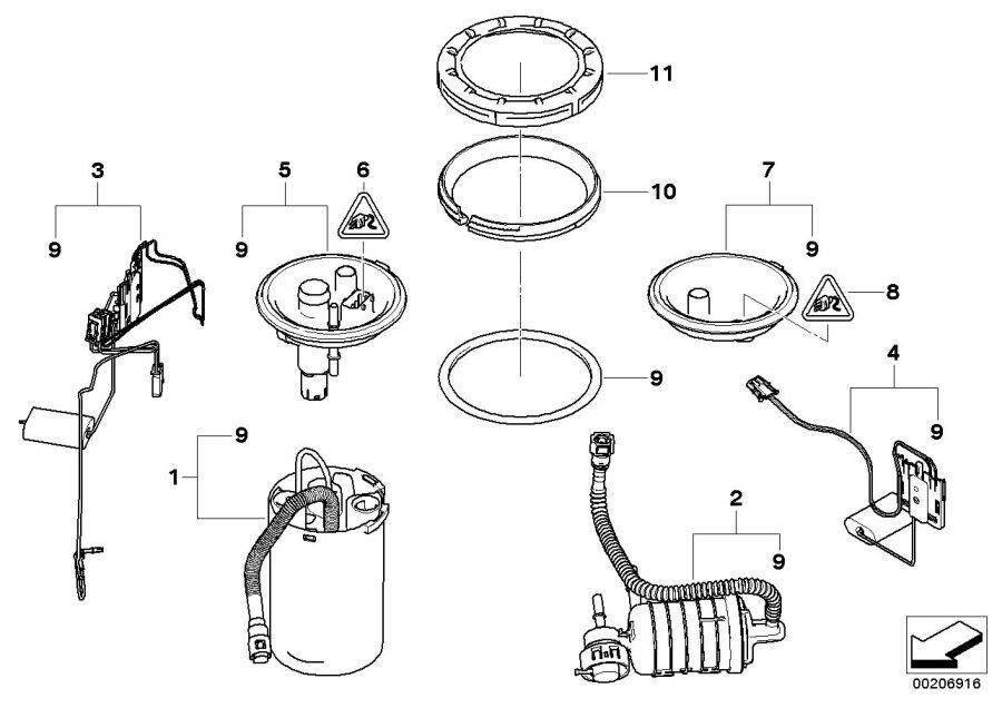 BMW X3 Socket housing. 6 POL. Fuel, Level, Sensor