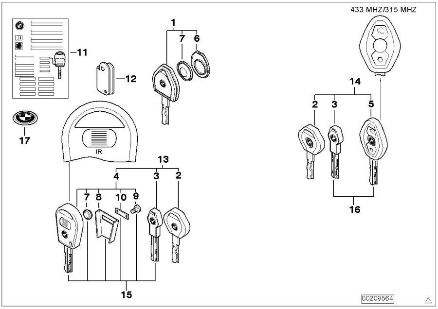 BMW 323i Set of keys with ews control unit. 315 mhz. Trim