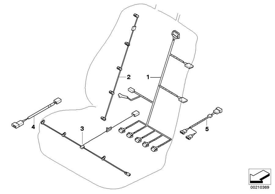 BMW X6 Wiring loom, seat motors, driver side