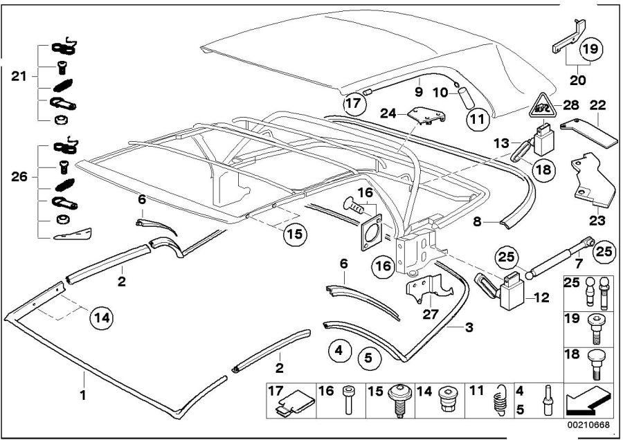 BMW 323Ci Sensor top. Folding, Trim, Mounting, Body