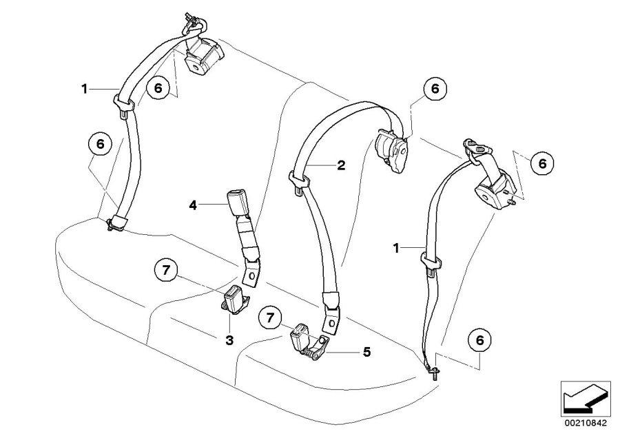 BMW 535i Rear centre upper belt. Beige. Safety, electrical