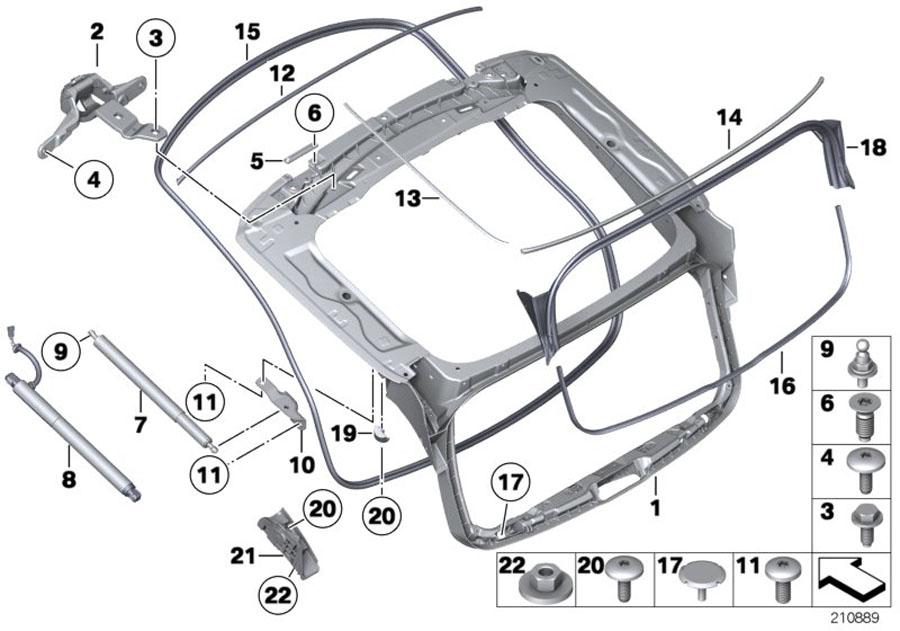 BMW 535iX Rear window cover, bottom. Body, Lid, Trunk