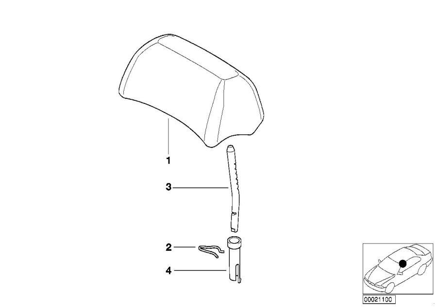 BMW 330Ci Headrest leather. SCHWARZ. Rear, Seat, Yes