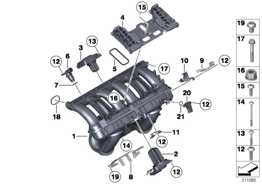 BMW 128i Set of profile gaskets. ALPINA, Intake, Manifold