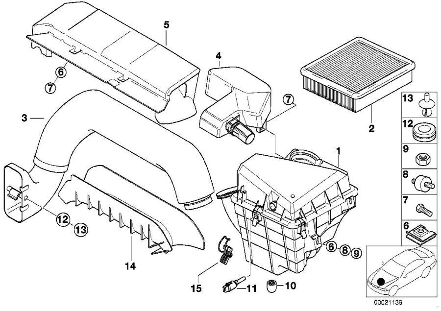 BMW Z3 Air channel bracket. Intake, conditioning, silencer