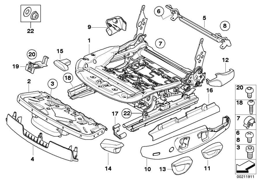 BMW 128i Cover, belt catch left. SCHWARZ. Front, Seat